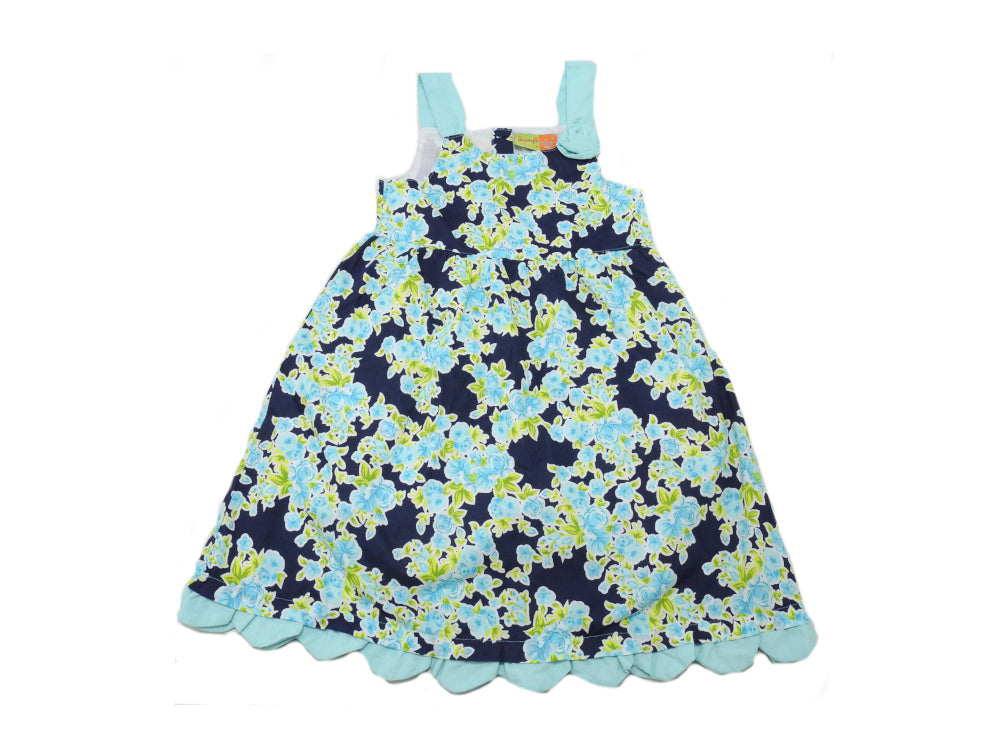 Penelope Mack Girls Size 6X Sleeveless Floral Dress, Navy