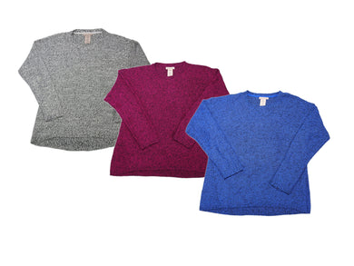 (3-Pack) Philosophy Womens Long Sleeve Pullover Sweater, Denim/Magenta/Ivory