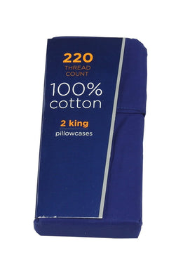 Liberty 220 Thread Count 100%-Cotton 2-King Pillowcases, Navy
