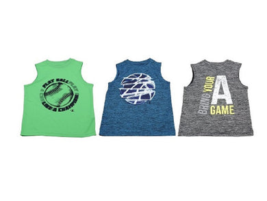(3-Pack) Champion Boys Sleeveless Athletic Tank Tops, Multi-Color