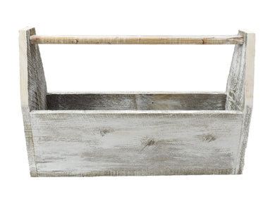 R & W Handmade Distressed Reproduction Wooden Tool Box/Carrier with Handle