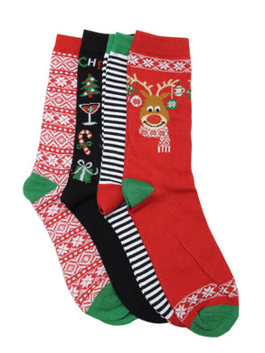 Legale Ladies Sock Size 9-11/Shoe Size 5-10 Holiday 4-Pair Crew Socks, Assorted