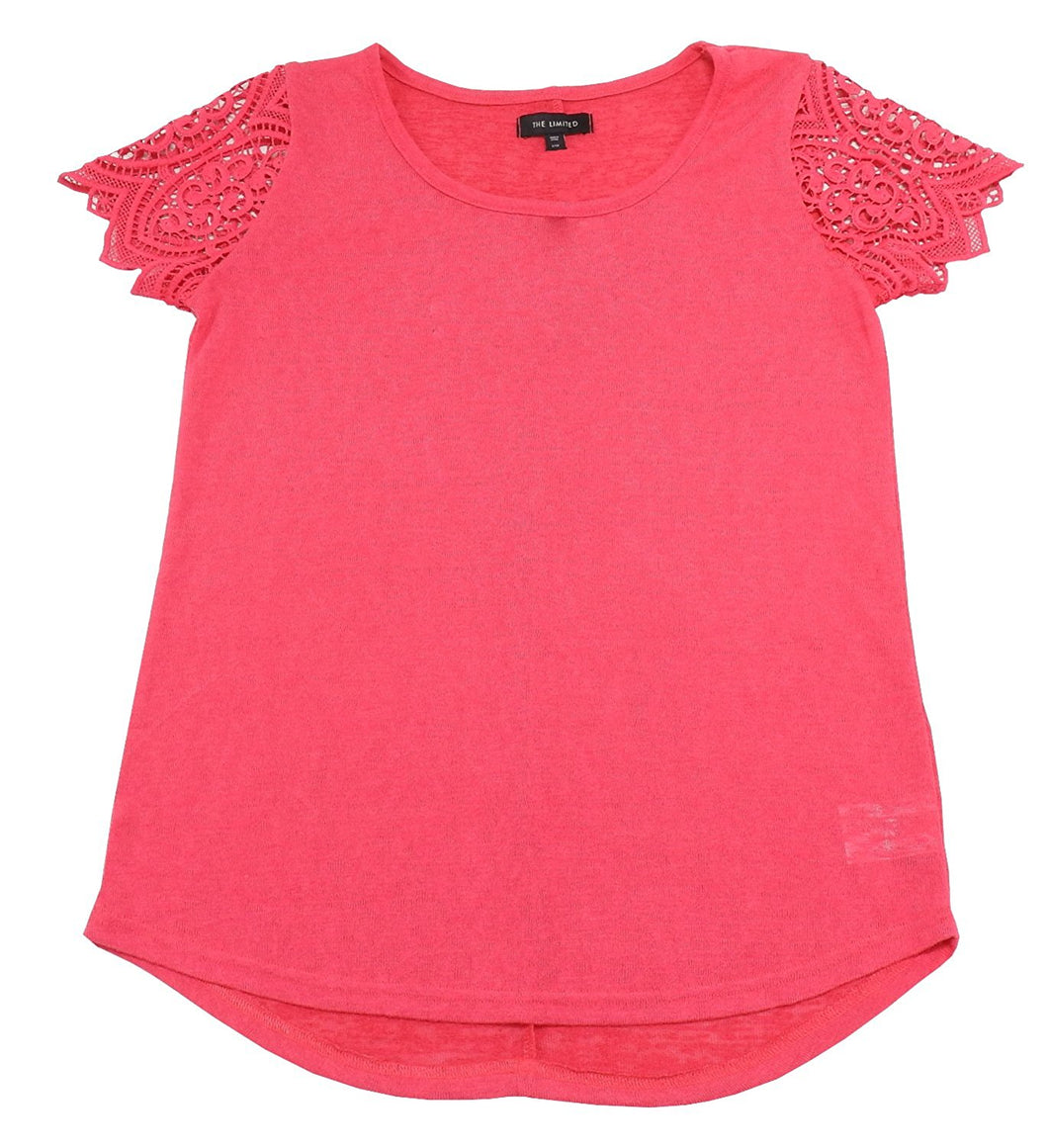 The Limited Womens X-Large Ultra-Soft Hi-Low Hem Parker Lace Blouse, Raspberry
