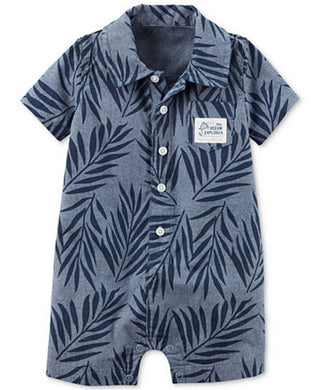 Carter's Baby Boy 24 Months Little Ocean Explorer Romper, Leaf-Print Chambray