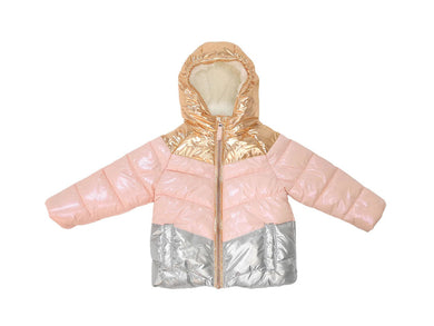 Members Mark Baby Girls 2T Hooded Cozy Puffer Jacket, Gold/Silver/Pink