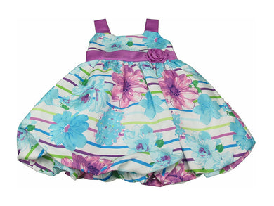 Jessica Ann Little Girls Special Occasion Blue & Purple Floral Sash Dress, Mint