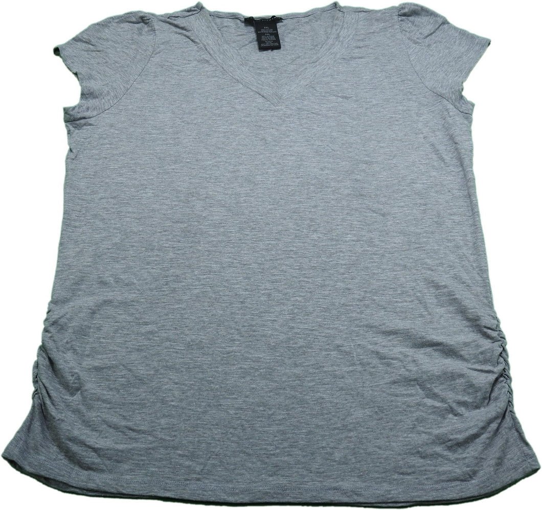 Grace Elements Womens  V-Neck S/S Gathered Side T-Shirt, Mist Grey Heather