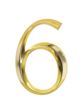 (Lot of 4) Whitehall 6-inch House Number (6) - Polished Brass