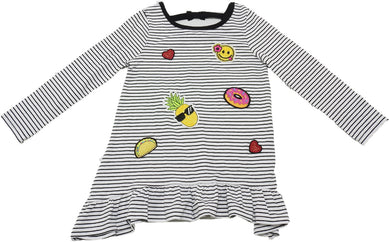 Emily Rose Girls Size 5 Long Sleeve Stripe T-Shirt, Black/White/Multi