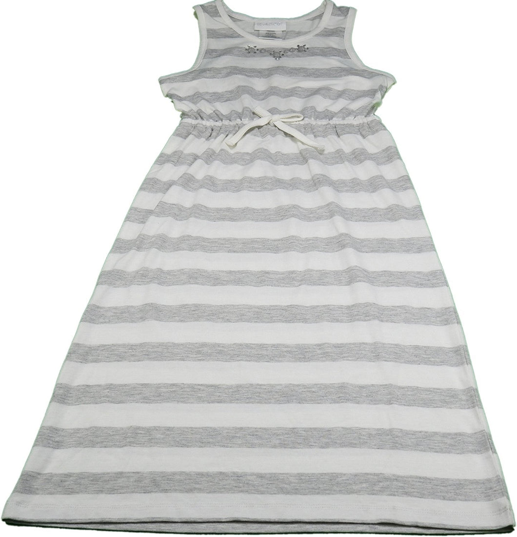 Lavender By Us Angels Girls Size 6/6X Sleeveless Dress, Gray/White Stripe