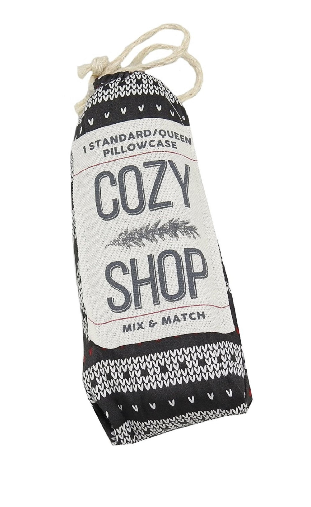 Cozy Shop Mix & Match 1-Standard Queen Pillowcase, Black Snow Flake
