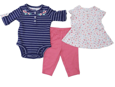 Carters Baby Girls Size 24 Months Stripes & Flowers 3-Piece Set, Navy/Pink/White