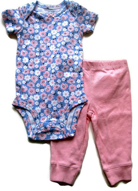 Carter's 2 Piece Baby Girls 9 Months Pant Set Pink Multi