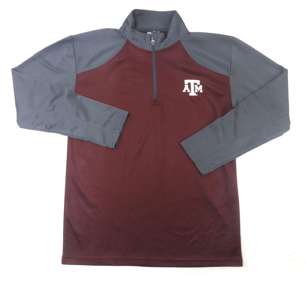 Knights Apparel 1/4 Zip Texas A&M Pullover, Aggie Maroon/Grey/White