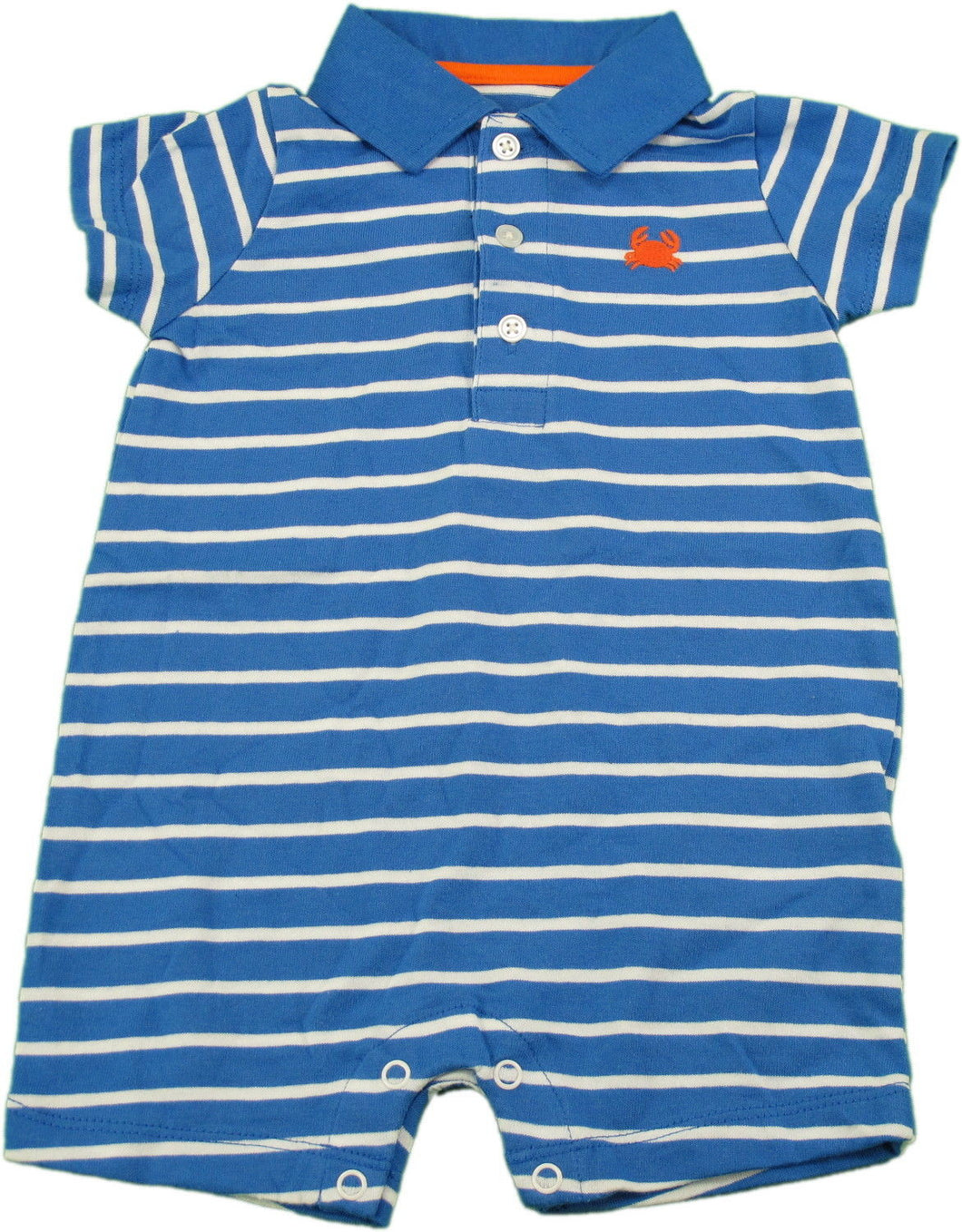 Carters Baby Boys Size 9 Months 1-Piece Short Sleeve Striped Shorts Romper, Blue