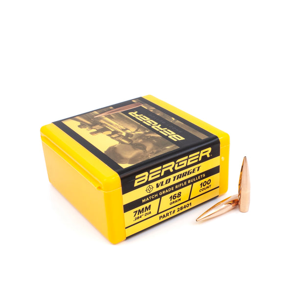 Berger Target Bullets .284 Caliber 7mm (.284 Diameter) 168 Grain Match Grade VLD -  100