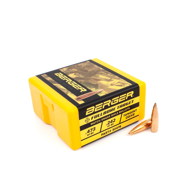 Berger Target Bullets .30 Caliber (.308 Diameter) 155.5 Grain Match Grade BT Fullbore - 100