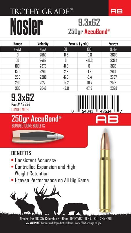 Nosler- Trophy Grade Accubond Ammunition 9.3x62mm Mauser 250 Grain AccuBond Box of 20