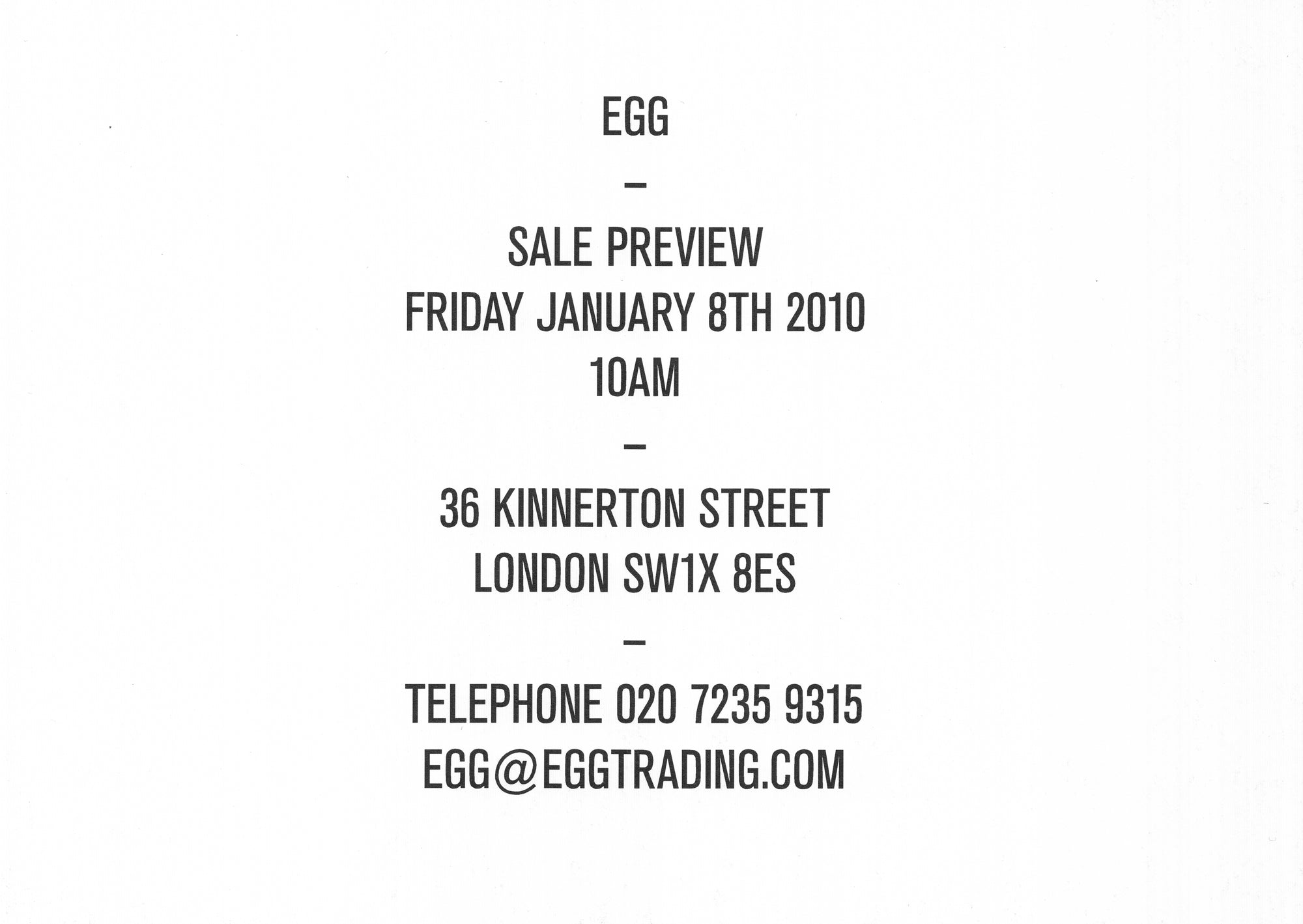 egg winter sale January 2010