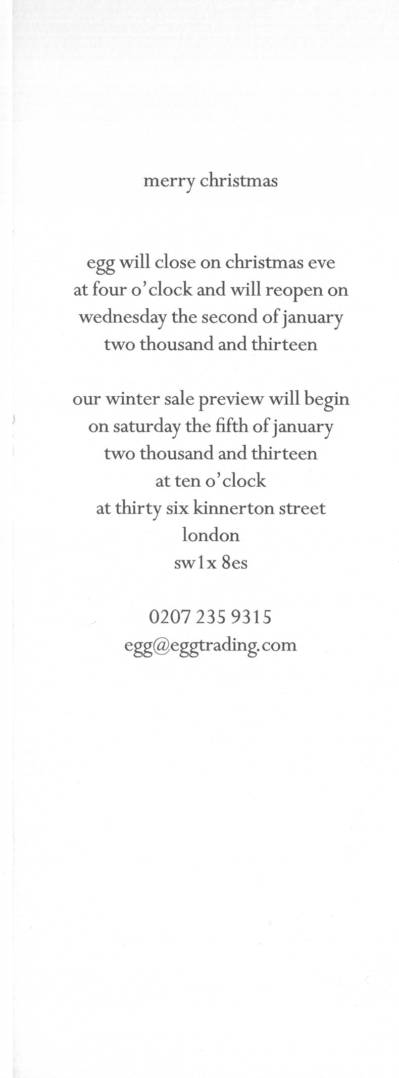 egg winter sale January 2013