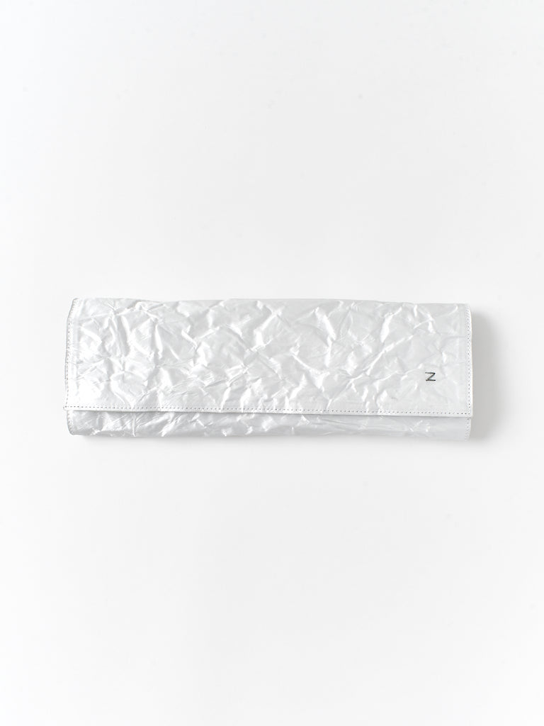 white long satin clutch