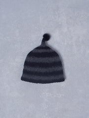 wool stripe & mink hat