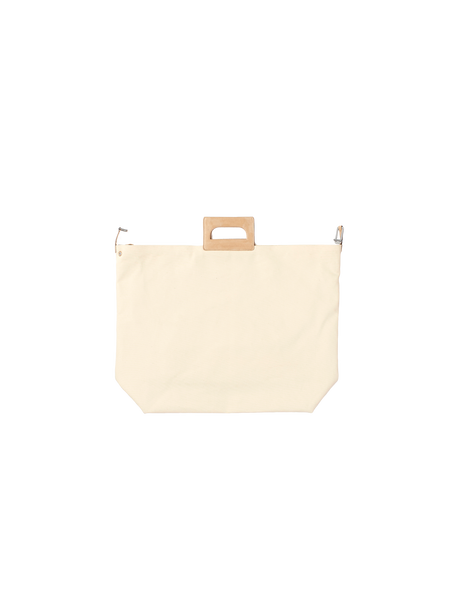 large white bag with wooden handle