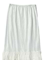 white silk ruffle skirt