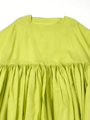 green crispy cotton dress
