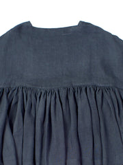 indigo ruffled top