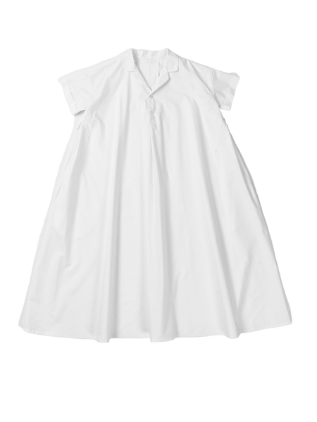 white wide dress with collar
