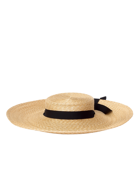 wide straw hat with black ribbon