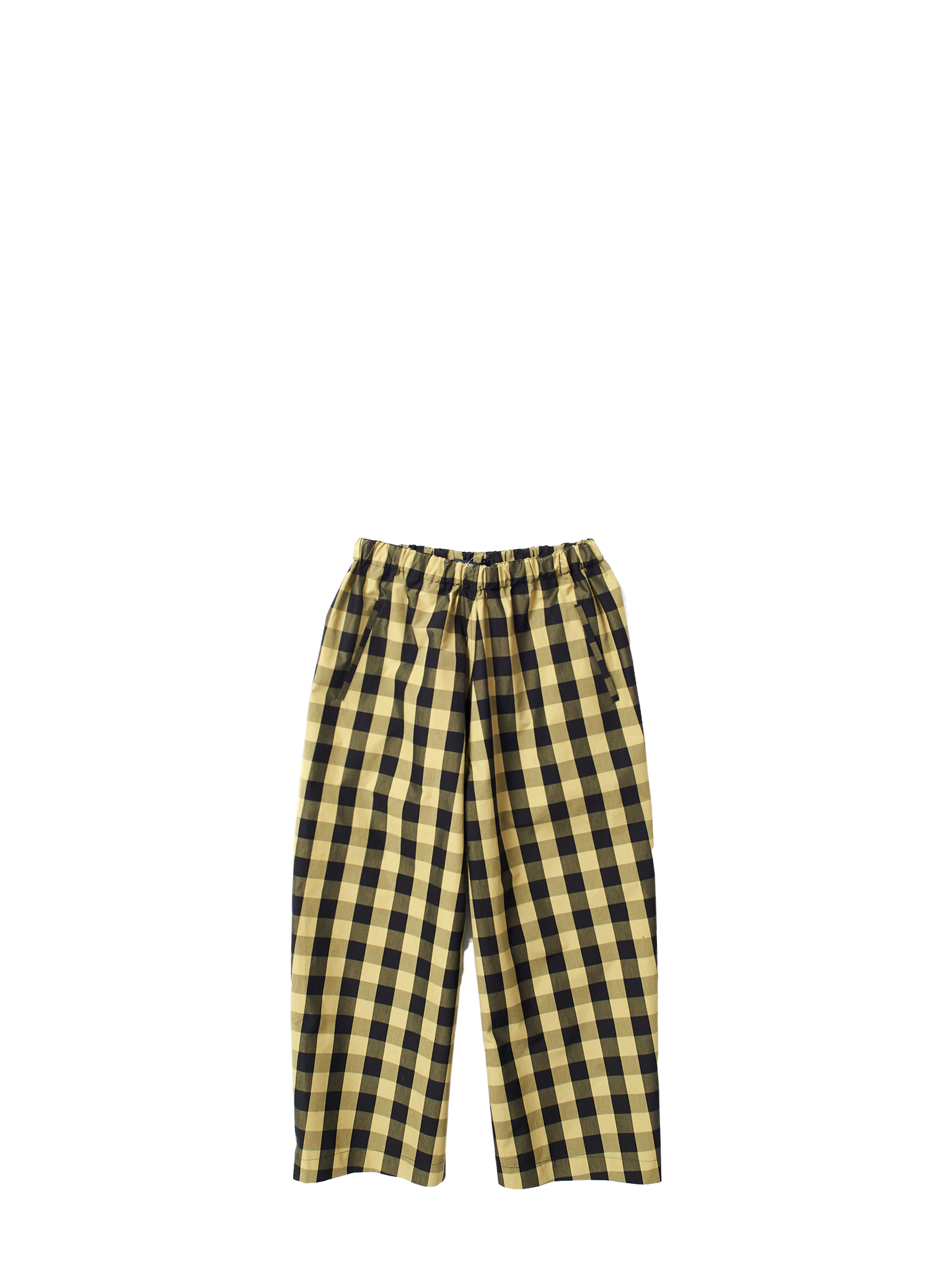 yellow check trousers