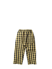 yellow and black check trousers