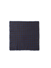 blue wool gingham check scarf
