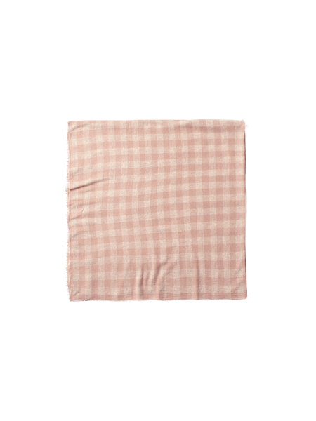 pink wool gingham check scarf