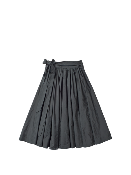 lightweight grey cotton gathered long skirt with sash tie