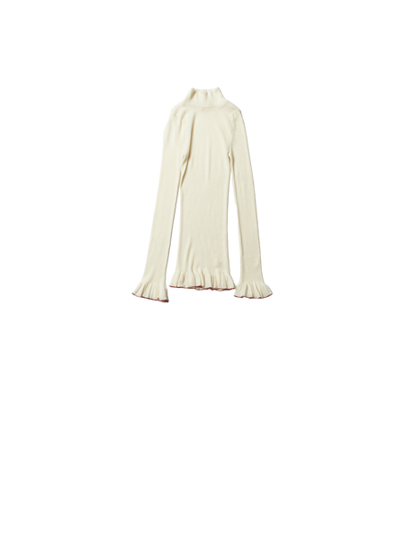 cream wool high neck frill vest
