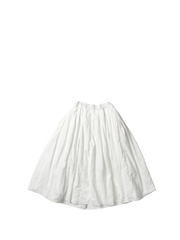white paper cotton full gathered bande skirt