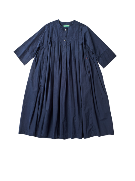 navy cotton full pleated charlotine shirt dress