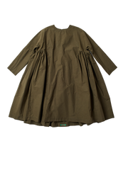 green cotton oversized rouche dress