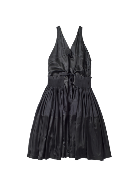 black silk cotton low v neck caravaggio dress