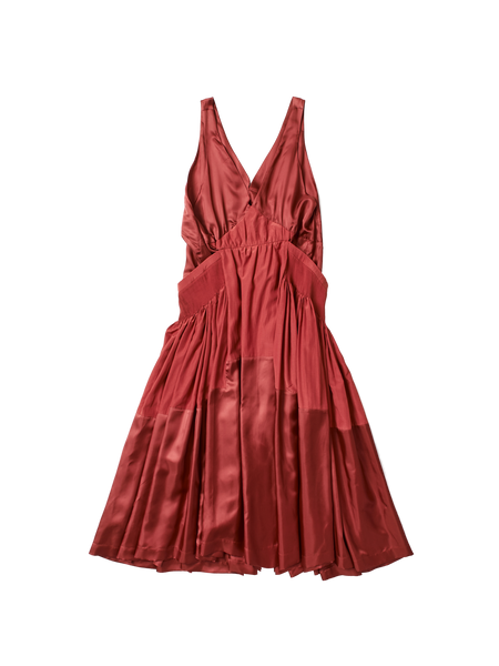 red silk cotton low v neck caravaggio dress