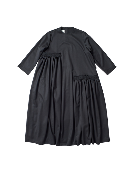 black stretch wool dalia dress with tiered gathers