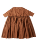 ruffled full length brown cotton florence dress