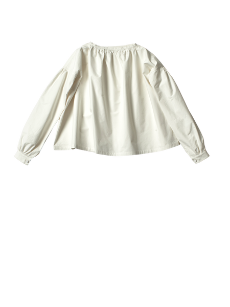 white cotton canvas gathered neck jilly top