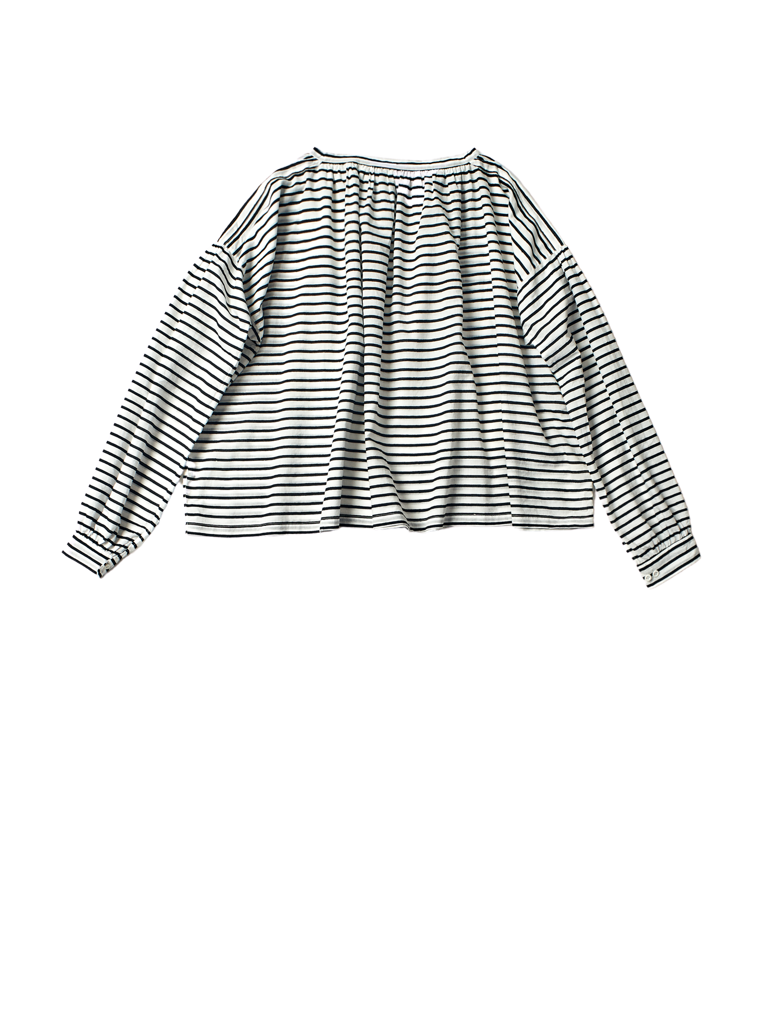 black and white stripe khadi cotton gathered neck jilly top