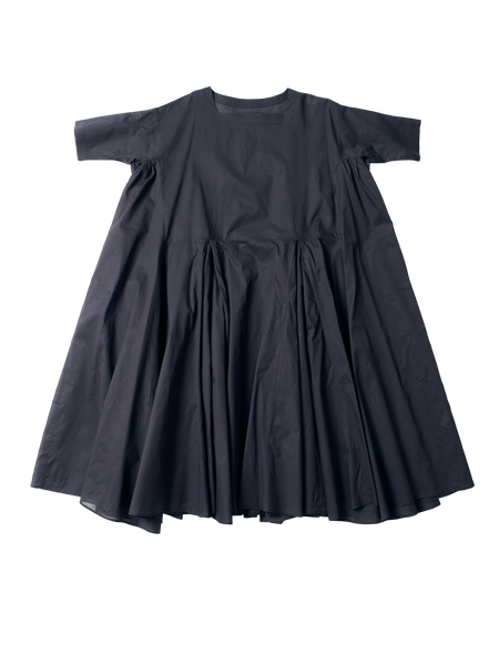 blue cotton voluminous pleat n dress