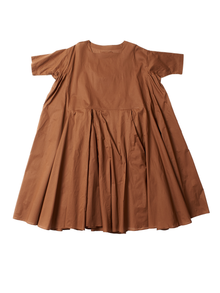 brown cotton voluminous pleat n dress