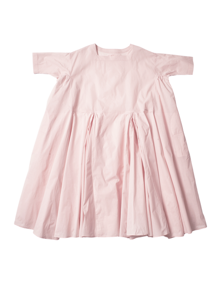 pink cotton voluminous pleat n dress